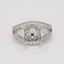 Oliva Collection, Ladies' Engagement Ring Setting 0.85tw  18K White Gold