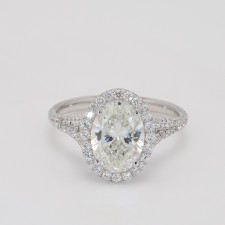 Custom Split Shank Oval Halo Engagement Ring