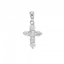 Ladies' Cross Pendant 0.30tw  18K White Gold