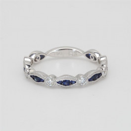 Ladies' Gemstone Three-Quarter Way Band 0.62tw  18K White Gold