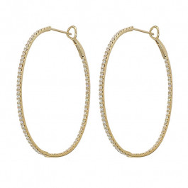 Ladies' Diamond Hoop Inside Out Earrings 1.42tw  14K Yellow Gold