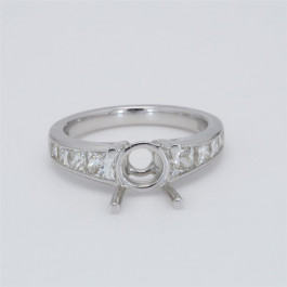Ladies' Engagement Ring Setting 1.07tw  18K White Gold