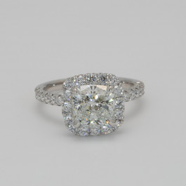 Cushion Cut Diamond Center Halo Engagement Ring Mounting