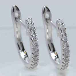 Ladies' Diamond Huggie Earrings 0.19tw  18K White Gold