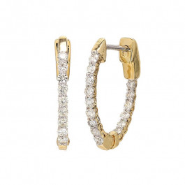 Ladies' Diamond Hoop Inside Out Earrings 0.49tw  14K Yellow Gold
