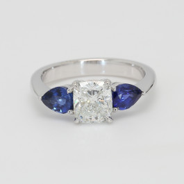 Custom Cushion Cut Semi Mount Engagement Ring w Blue Sapphires