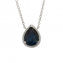 Ladies' Gemstone Necklace 3.20tw  18K White Gold
