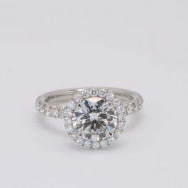 Round Cut Diamond Halo Engagement Ring