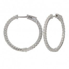 Ladies' Diamond Hoop Inside Out Earrings 1.69tw  14K White Gold