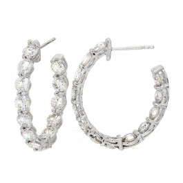 Ladies' Diamond Hoop Inside Out Earrings 6.04tw  14K White Gold
