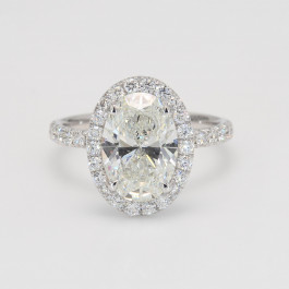 Oval Halo Diamond Engagement Ring with Eternity Shank