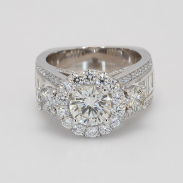 1.25Ct Round Diamond Halo Engagement Ring with .88 Baguettes