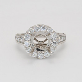 Ladies' Engagement Ring Setting 1.40tw  18K White Gold