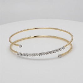 LA Hip, Ladies' Diamond Bangle 0.53tw  14K Yellow/ White Gold
