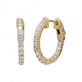 Ladies' Diamond Hoop Inside Out Earrings 0.95tw  14K Yellow Gold