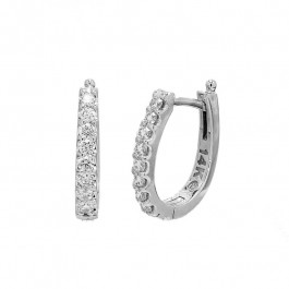 Ladies' Diamond Hoop Earrings 0.52tw  14K White Gold