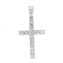 Ladies' Cross Pendant 0.42tw  14K White Gold