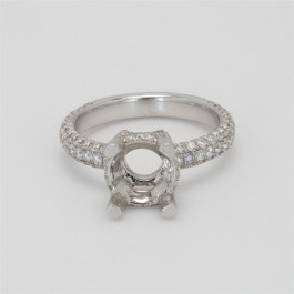 Ladies' Engagement Ring Setting 1.12tw  18K White Gold