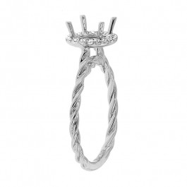 Ladies' Engagement Ring Setting 0.18tw  14K White Gold