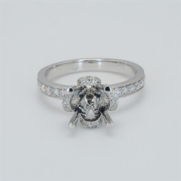 Ladies' Engagement Ring Setting 0.57tw  18K White Gold