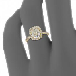 Custom Cushion Cut 18Ky Halo Engagement Ring