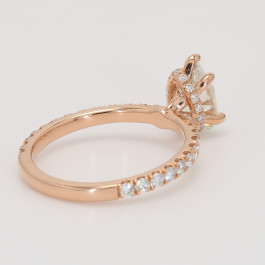 Ladies Hidden Halo Diamond Engagement Ring in Rose Gold