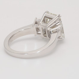 Ladies 3 Stone Emerald Cut Engagement Ring in White Gold