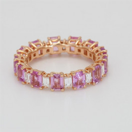 Ladies' Gemstone Eternity Band 4.37tw  18K Rose Gold