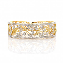 Diamond Floral Gold Cuff