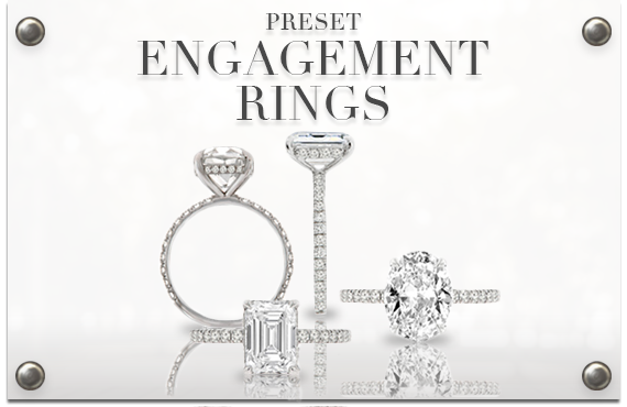group of preset engagement rings with gia diamonds
