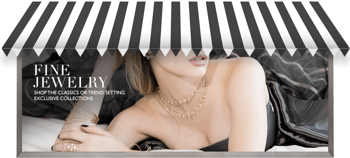 young woman wearing fine jewelry in front of store