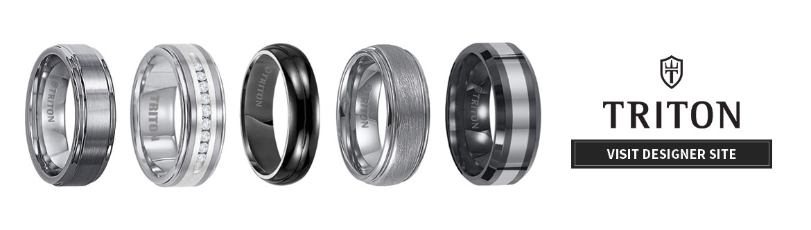 mens wedding bands in a line